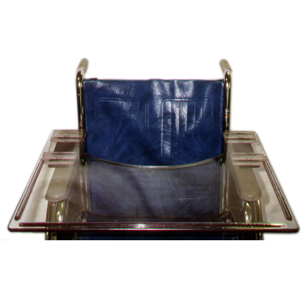 An armrest-mounted tray