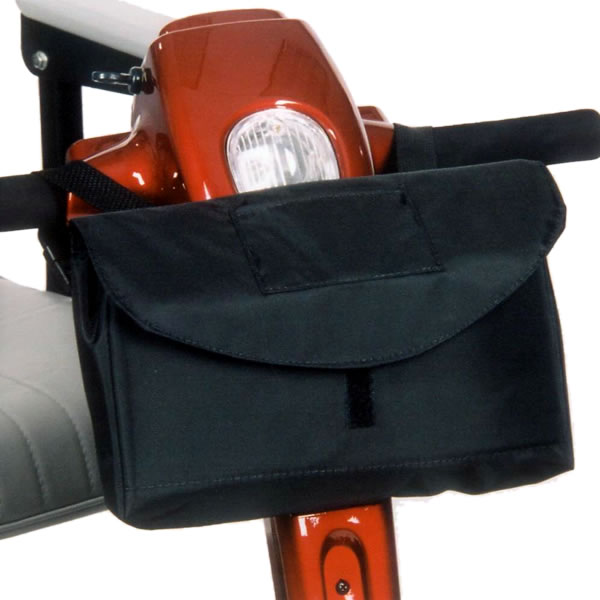 A storage bag which attaches to your scooter's armrest