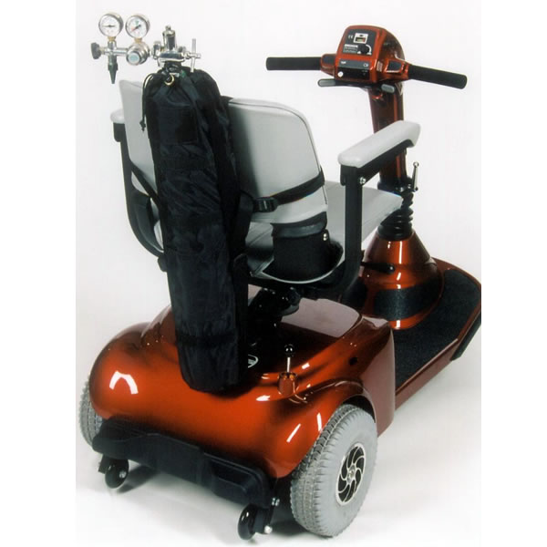 An oxygen tank holder for an electric scooter