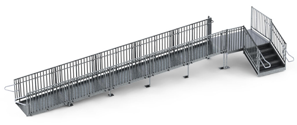 "30' Straight Commercial Modular Ramp System with 5' x 7' Landing & 30"" ADA/IBC Step System"
