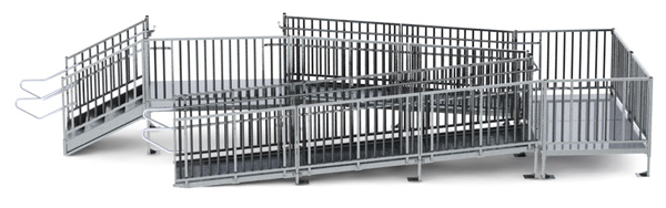 "30' Turn Back Commercial Modular Ramp System with 5' x 7' Landing & 30"" ADA/IBC Step System"