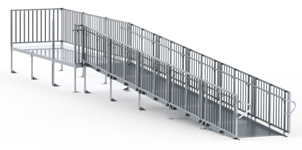 30' Straight Commercial Modular Ramp System with 5' x 15' Landing