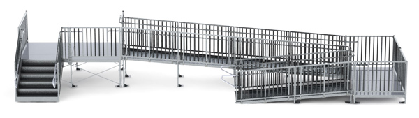 "36' Turn Back Modular Ramp System with 7' x 10' Landing & 36"" ADA/IBC Step System"