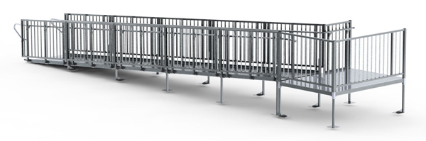 30' Straight Commercial Modular Ramp System with 5' x 7' Landing (7' Out From Door)