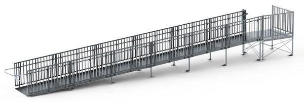 36' Straight Commercial Modular Ramp System with 5' x 5' Landing
