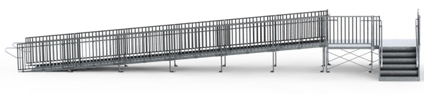 "36' Straight Commercial Modular Ramp System with 5' x 10' Landing & 36"" ADA/IBC Step System"